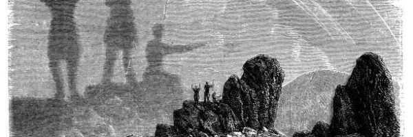 Antique illustration of Brocken spectre (Brocken bow or mountain spectre)